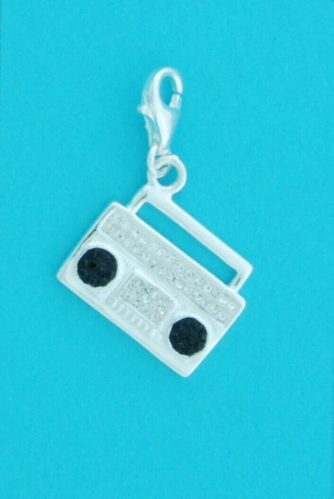 Genuine 925 Solid Sterling Silver Radio Clip On Charm W/ Black & White Crystals